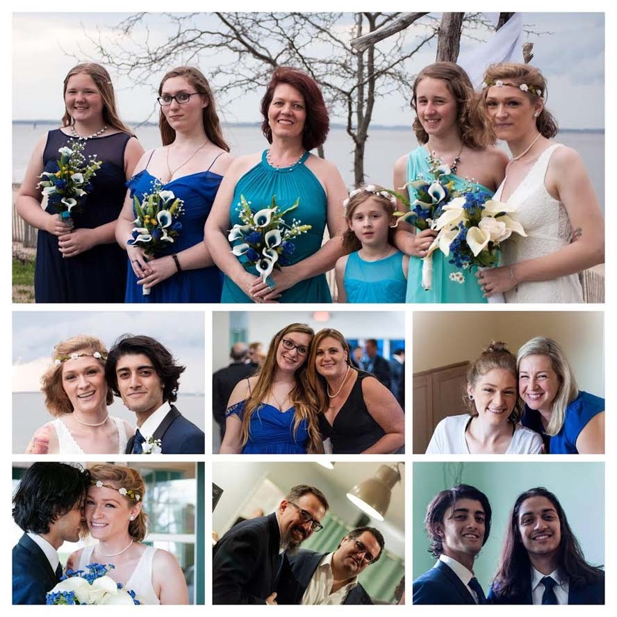 Collage of photos from wedding