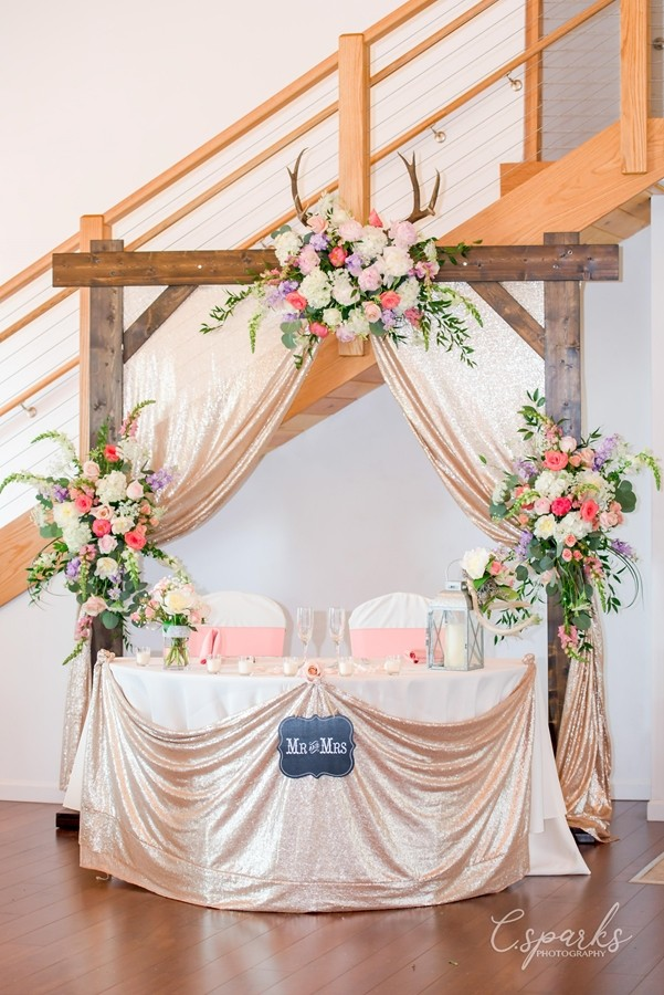 The bride and groom's table at reception inside Inn
