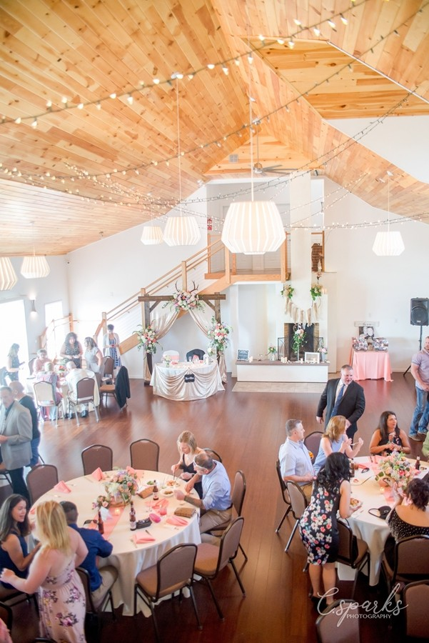Wedding reception inside The Inn, people sitting at tables