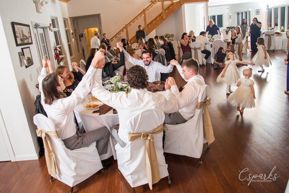 Wedding reception, whole table holding hands up together